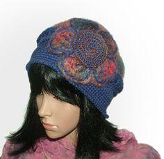 purple blue crochet felt hat