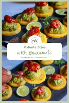 Quick and easy to make polenta bites topped with homemade guacamole and roasted tomatoes! A simple and delicious appetizer/snack perfect for parties and potlucks.