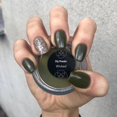 Wicked is a solid, dark, moss green. Create the perfect manicure and save money on your own time with this popular Revel Nail Dip Powder color! Dip Nail Colors, Sns Nails Colors, Color For Nails, Neutral Nails, Fall Acrylic Nails, Autumn Nails, Winter Nails, Dip Manicure, Fall Manicure