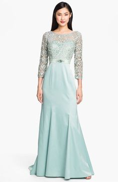 Adrianna Papell Embellished Lace & Satin Trumpet Gown | Nordstrom