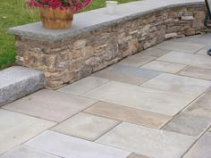 New England fieldstone wall with bluestone cap and bluestone patio- nice warmer colors Paver Stone Patio, Bluestone Patio, Outdoor Stone, Brick Patios, Stone Patios, Pool Paving, Stone Porches, Garden Paving, Outdoor Patios