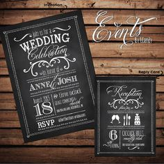 WEDDING INVITATION SAMPLE - vintage chalkboard like with white scipt type on Etsy, $1.50