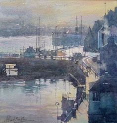 watercolour demonstration by Robert Brindley, a member of the royal society of marine artists, painting in watercolour, oil and other media, specialising in capturing light in landscapes and coastal scenery of whitby harbour. Watercolor Landscape, Watercolor And Ink, Step By Step Watercolor, Painting Lessons, Art Techniques, Images, Scenery, Fine Art, Watercolors