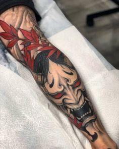 101 Amazing Hannya M Hannya Maske Tattoo, Oni Mask Tattoo, Hanya Tattoo, Samurai Mask Tattoo, Yakuza Tattoo, Japanese Mask Tattoo, Japanese Tattoo Designs, Japanese Sleeve Tattoos, Calf Tattoo