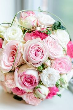 Classic bridal bouquet with pink roses. Classic rose wedding bouquets in pink. - Classic bridal bouquet with pink roses. Classic rose wedding bouquets in pink. Cascading Bridal Bouquets, Silk Bridal Bouquet, Rose Wedding Bouquet, Fall Wedding Bouquets, Diy Wedding Flowers, Bride Bouquets, Bridal Flowers, Bridesmaid Bouquet, Pink Bouquet