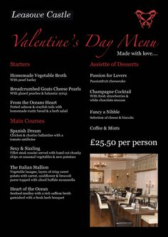 Valentine's Day menu design for Leasowe Castle's Portcullis restaurant.