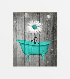 Bathroom Decor turquoise Turquoise Gray Country Rustic Pictures Daisy Flower Bathtub Farmhouse Bathroom P. Turquoise Gray Country Rustic Pictures Daisy Flower Bathtub Farmhouse Bathroom Powder Wall Picture Home Decor Matted Picture