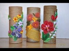 Quilling Bottle Decoration - Quilling Flower Decor - YouTube