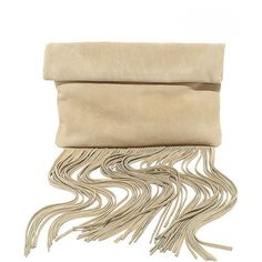 Palomino Beige Suede Leather Fringe Clutch (405 DKK) ❤ liked on Polyvore featuring bags, handbags, clutches, beige, suede handbags, beige clutches, beige purse, beige handbags and fringe purse