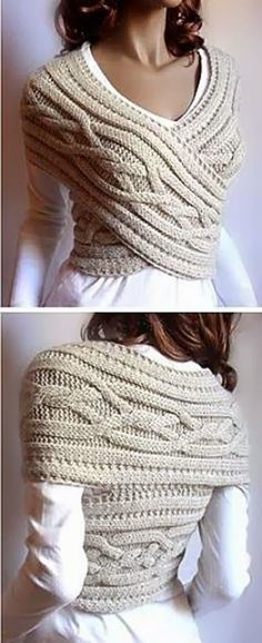 This Knitted Sweater Cowl Vest is stylish, beautiful, and sexy. I love this idea of wearing cable knitted cowl into a chic sweater vest. Perfect for cold. Look Fashion, Diy Fashion, Autumn Fashion, Fashion Ideas, Fashion Sewing, Fashion Clothes, Fashion Beauty, Cheap Fashion, Making Shirts