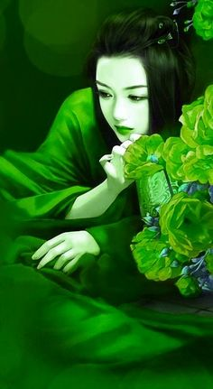 Fantastic illustration- this is another just lovely Japanese themed illustration that i love- the lines and the way the girl is studying something off the left makes you wonder what she is pondering. The rich jewel tones work well @ http://www.duitang.com