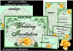A beautiful full set of wedding Stationary. It consists of The invitation card front and back, the insert where you can write or print your details on, and a RSVP that goes with it.Then the name card for your table that has a thank you on the back, that say, Thank you for sharing our special day with us.The card insert can also be used as a menu, and or a order of service.This set can be dressed up or used as is, have fun.