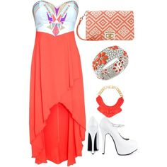 Nice Orange dress with design on the top.... with purse to match and white shoes.[]