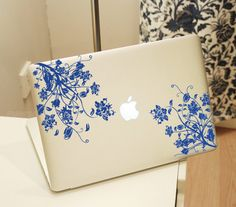 Flower Decal for Apple Logo Decal Sticker MacBook Pro Custom Apple Logo Class Mac book Decal Vinyl LED Custom Colors Sticker