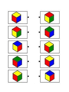 Printable brain teaser worksheets for helping preschool and kindergarten kids practice to recognize cube shapes. Montessori Activities, Kindergarten Worksheets, Worksheets For Kids, Learning Activities, Preschool Activities, Printable Brain Teasers, Visual Perception Activities, Shapes Worksheets, Vision Therapy