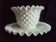 Fenton White milk glass hobnail mayo set 3803 MI FREE SHIP  $25.00 OBO ((OOOHHHH YYEEESSSS!!! WE ALL KNOW I LOVE FENTON GLASS / MILK GLASS / DEPRESSION GLASS!!! ITZ ONE OF THOSE GREAT BEAUTIES... I WANT I WANT!!!)) LOVE LOVE LOVE THE HOBNAIL!!!