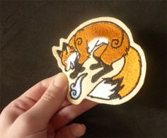 Kitsune Fox Embroidered sew-on patch Various por CyanFoxDesigns