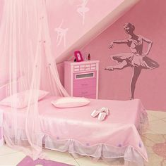 Pink, pink, pink everywhere! The dream of a young ballerina, the walls are all pink and display the passion for ballet through a painted ballerina, the bedding is made from silk and a semi-transparent pink curtain falls from the ceiling covering the bed.
