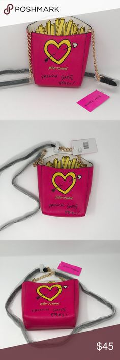NEW Betsey Johnson Kitsch French Fries Crossbody This is a brand NEW with tag Betsey Johnson Kitsch French Fries Crossbody in color fuchsia, pink.  This super fun Betsey crossbody is a stylish rendition of warm, scrumptious fast food favorite French Fries! And in true Betsey style it features quirky fun details. ▪️Crossbody in faux leather  ▪️Signature Betsey logo plaque at front. Custom goldtone hardware ▪️Chain link & faux leather crossbody strap ▪️Magnetic closure; Signature lining…