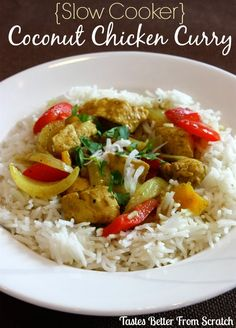Slow Cooker Coconut Chicken Curry served over rice