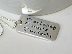 Large Tag Necklace  Sterling Silver  Customize with Text by wsayle, $34.00