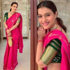 Kajol and Rani Mukherji Turn Up In The Best Shades Of Pink Sarees For Durga Puja - HungryBoo Saris, Saree Blouse Neck Designs, Fancy Blouse Designs, Durga Puja, Sari Rose, Mix Match, Divas, Indiana, Bollywood Designer Sarees