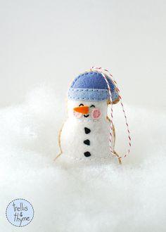 PDF Pattern - Marshmallow Snowman, Kawaii Christmas Ornament Pattern, Felt Softie Sewing Pattern, Felt Ornament Pattern