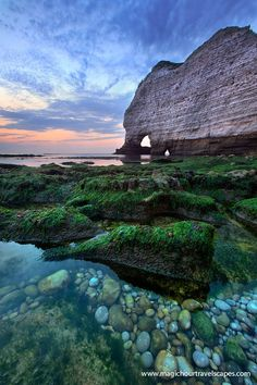 Sunset and Etretat Pebbles, Normandy, France. I would die if I ever saw this in person-mv