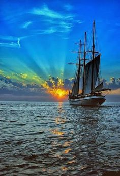 I'd love to see the Tall Ships of yesteryear one more time before I go to heaven - they are so very beautiful Tall Ships, Beautiful Sunset, Beautiful Places, Beautiful Scenery, Sail Away, Set Sail, Water Crafts, Belle Photo, Sailing Ships