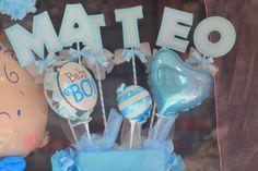 centrotavola centro tavola addobbo per nascita o battesimo base con palloncini+ nome con lettere su stecco di Festalandia su Etsy
