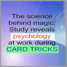 The science behind magic: Study reveals psychology at work during card tricks  http://news.nationalpost.com/2015/02/11/the-science-behind-magic-study-reveals-psychology-at-work-during-card-tricks/  ************************************************* #magicjayentertainment #magicjay #clearwatermagician #magiciansclearwater #clearwaterflorida #entertainersinclearwater #clearwaterentertainers #magicjayclearwater #magicianforhire #acrobats #balloonartist #balloonart #balloontwisting #juggler…