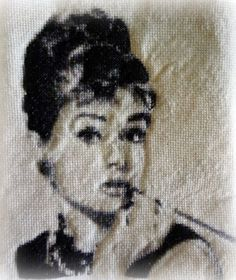 Fabulous Audrey Hepburn finished cross-stitch.