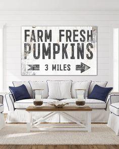 Farm Fresh Pumpkins White Farmhouse Canvas Wall Art for living rooms, kitchen, entries and game rooms. #modernhomes #modernfarmhouse #farmhousedecor #farmhouse #farmhouselivingroom  #cottagedecor #cottage #industrialfarmhouse  #farmhousebedroom #vintagesign #shop #fallforhomedecor #falldecorinspiration  #entryway #holidaydecorating #fall #pumpkin #signs #wallart #farmfresh #pumpkinpatch #wallsofwisdom #domain38 Modern Farmhouse Living Room Decor, Farmhouse Wall Art, White Farmhouse, Farmhouse Style Kitchen, Modern Farmhouse Kitchens, Modern Farmhouse Style, Farmhouse Design, Farmhouse Decor, Kitchens And Bedrooms