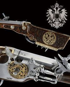 Bellissimo paio di carabine a ruota provenienti dalla corte della casa imperiale d'Austria Austria, secondo quarto del XVII Secolo