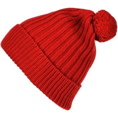 Chunky Red Cashmere Bobble Hat ($28) ❤ liked on Polyvore featuring accessories, hats, beanies, headwear, gorros, cashmere beanie hat, red beanie, slouch beanie, slouchy hat and cashmere beanie