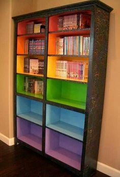 Color coded reading shelves   if u can't paint, maybe contact paper or laminated construction paper