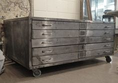 Mid Century Polished Steel Plan Chest