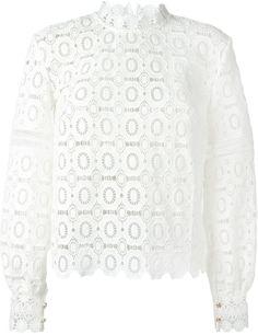 Self-Portrait floral crochet lace blouse