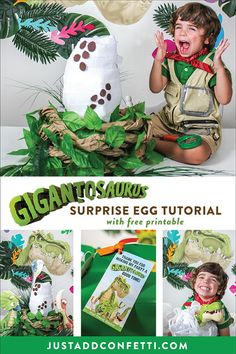 If you have a little Gigantosaurus fan in your life then this is the post for you! Make a Gigantosaurus Surprise Egg with the brand-new line of Gigantosaurus toys! Such a fun idea for birthdays or holiday gift giving! The full step-by-step tutorial is in the post! Also, be sure to download the free printable thank you party favor tag for your next dino-mite celebration!  #JustAddConfetti #gigantosaurus #dinosauregg #surpriseegg #diysurpriseegg #diycraft #freeprintable #partyfavortag