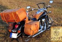 Huge handmade motorcycle bags collection using leather lacing and handmade embossing by Kriszti Dobos.