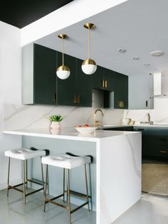 Iridescent finishes pastel shades and saturated pops of color define this very modern Color Form design trend with a minimal millennial edge. - March 03 2019 at Kitchen Room Design, Modern Kitchen Design, Home Decor Kitchen, Interior Design Kitchen, Modern Interior Design, Kitchen Ideas, Marble Kitchen Interior, Art Deco Kitchen, Small Modern Kitchens