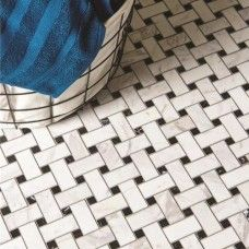 Original Style Mosaics Basketweave (White With Black Dot) 290x290mm EW-BSKWHITE mosaic tile