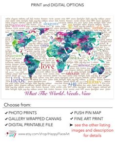 Pink water color world map reference pinterest water world map typography art pink aqua turquoise world map sciox Images