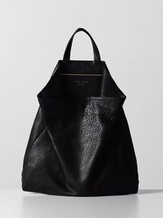 Black Leather Bag - chic minimalist style // Tsatsas