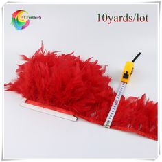 10 yards high quality red chandelle turkey feather fringes for costumes