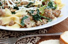 Pasta with Spicy Sausage & Rapini    This pasta dish features spicy Italian sausage and rapini, also known as broccoli rabe.