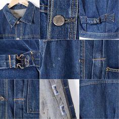 商品詳細ブランド・UNKNOWN・特徴・ヴィンテージ・針刺しシンチバック・モデル/形状・2ND TYPE セカンドタイプ・デニムジャケット Gジャン・素材・コットン・色・ブルー系 青色・柄・無地・生産国年代・50年代・サイズ・メンズS・表記サイズ:不明・着丈:51cm・身幅:50cm・肩幅:43cm・袖丈:61cm・コンディション・B・カテゴリ・メンズ・デニム・コーデュロイジャケット・デニムジャケット・アウター・商品番号・wem0184・取扱店・桃谷店・スタッフコメント