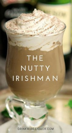 The Nutty Irishman Cocktail This play on an Irish Coffee is perfect for St. Paddy's Day! Irish whiskey, Irish cream, Frangelico and coffee team up to create this stellar cocktail! Christmas Drinks, Holiday Drinks, Party Drinks, Fun Drinks, Yummy Drinks, Beverages, Halloween Drinks, Jameson Irish Whiskey, Whiskey Sour