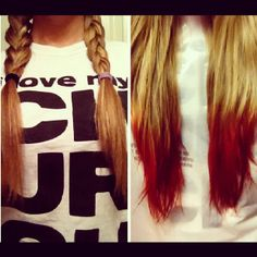 Before & after! Dip dyed my hair with kool aid :))