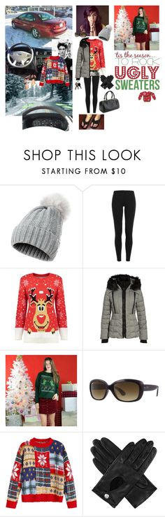 """""""Tamara - Dragging Boyfriend to Her Cousin's Ugly Christmas Sweater Party❤️👩🏻🚶🏻👜👣🛣❤️"""" by chrisiggy ❤ liked on Polyvore featuring Polo Ralph Lauren, GUESS, Ray-Ban, Dents and NOVICA"""